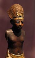Amenhotep III wearing a blue crown
