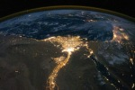 nile river delta at night from space